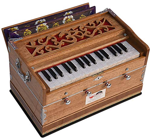 OM Harmonium Mini Magic By Kaayna Musicals, 4 Stop- 2 Main & 2 Drone, 2¾ Octave, Teak Colour, Gig Bag, Bass/Male- 440 Hz, Best for Yoga, Bhajan, Kirtan, Shruti, Mantra, Meditation, Chant, etc.