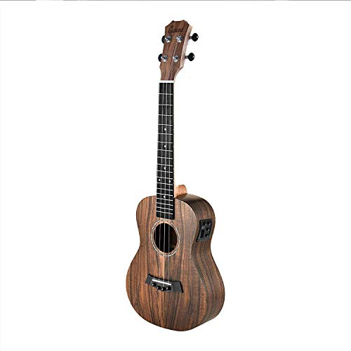 Left Handed – Caramel CB204L All Solid Acacia Baritone Acoustic Electric Ukulele with Truss Rod with D-G-B-E Strings