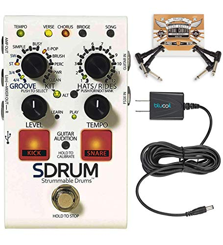 DigiTech SDRUM Auto-Drummer Drum Machine Pedal Bundle with Blucoil 9V DC Power Supply with Short Circuit Protection and 2-Pack of Pedal Patch Cables