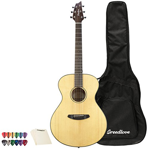 Breedlove Discovery Series 6-String Concertina Sitka-Mahogany Acoustic Guitar with ChromaCast 12 Pick Sampler and Polish Cloth, Right Handed(DSCA01SSMA-KIT-1)