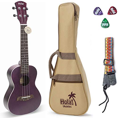 Concert Ukulele Bundle, Deluxe Series by Hola! Music (Model HM-124PP+), Bundle Includes: 24 Inch Mahogany Ukulele with Aquila Nylgut Strings Installed, Padded Gig Bag, Strap and Picks – Purple