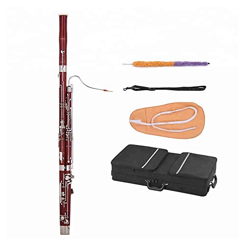 Maple Wood Body Woodwind Instrument with Reed Gloves Cleaning Cloth Carrying Case C Key Bassoon