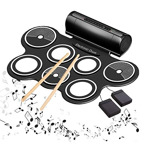 Lzour Electric Drum Kits for Children Roll-up Electronic Drum Portable Foldable Entertainment Musical Instruments with Built in Speaker Foot Pedals Drum Sticks